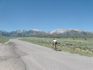 Just off the route of the featured ride, a cyclist heads up South Willow Canyon, toward Deseret Peak.