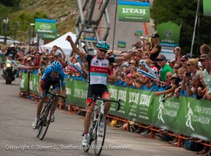 Chris Horner takes stage 5 of the 2013 Tour of Utah by outsprinting Tom Danielson. Photo: Steven Sheffield.