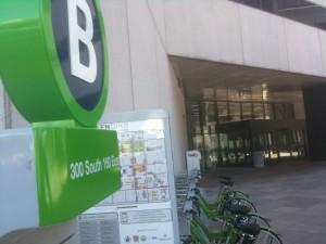 The new Greenbike SLC Bike Share station at 300 S. and 160 E. in Salt Lake City. Photo: Dave Iltis