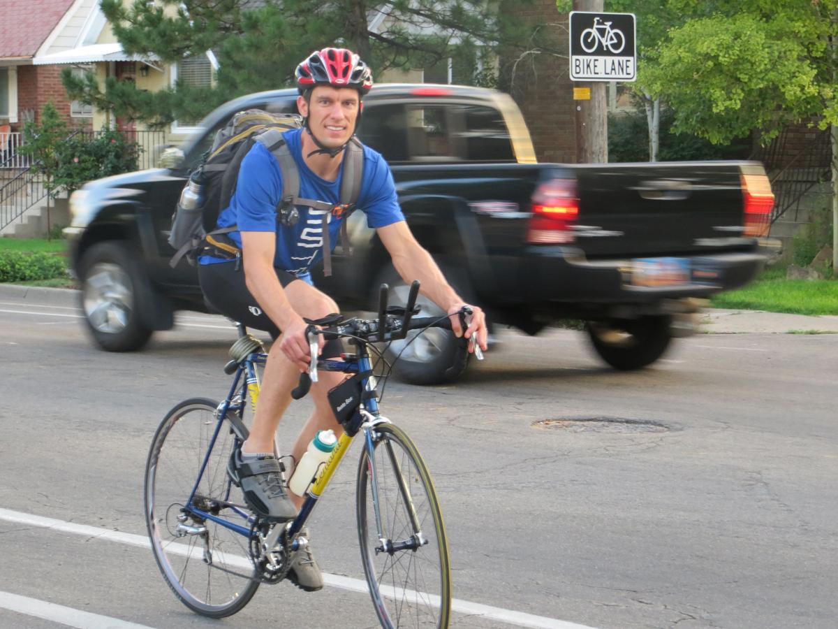 Matthew Boerke on his daily commute. Photo courtesy Matthew Boerke.