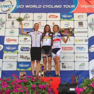 Utah's Anne Perry (center) is the new Masters 40-44 Road Race World Champion.