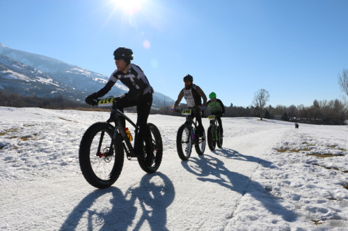 The lead group in the 2014 Global Fat Bike Summit race. Photo by Dave Iltis