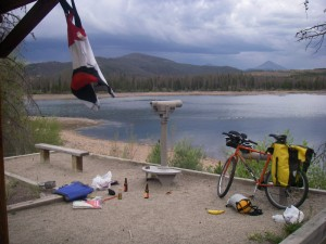 A great campsite on the shores of Dillon Lake, with the cyclists'