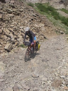 Technical bike touring far above Marble.