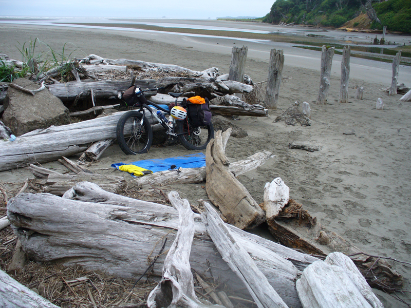 Camping place amidst driftwood at Moclips Beach.