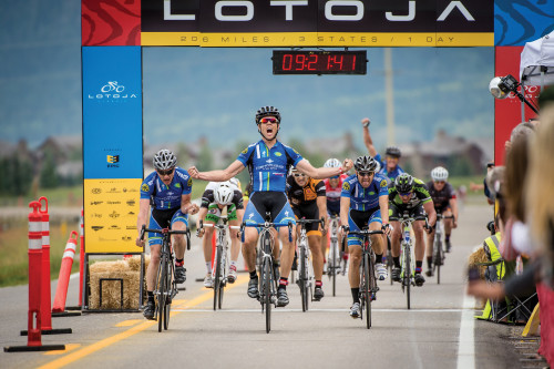 Clinton Mortley leads Intermountain Livewell to a top 3 sweep in the 2013 Lotoja Classic men's pro/1/2 field. Photo courtesy: Ricky Bangerter.