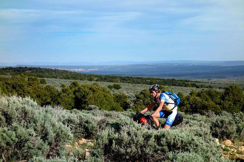 Ty Hopkins climbing up Lackey Basin Road.