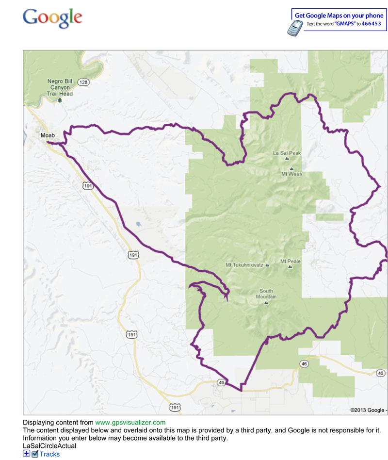 Map data from Adam Lisonbee, Google Maps, and GPSVisualizer.com