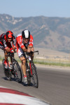 Chase Pinkham in the stage 3 Time Trial of the 2011 Tour of Utah shown here with George Hincapie on his wheel. Photo by Dave Iltis