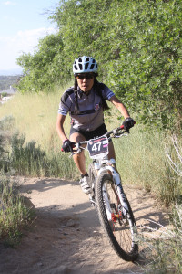 A rider in the Mid-Week MTB Race Series held at Corner Canyon.
