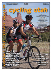 Cover Photo: The Sub 5 Cycling tandem team rides past Castle Rock during the Moab Gran Fondo, May 3, 2014 in Moab, Utah.  Photo courtesy MoabActionShots.com. Find your event photo on their website.