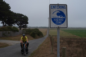 Approaching the Tsunami safe zone. We passed these signs coming and going all day.