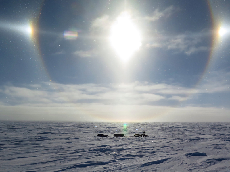 The sun dog meant a white out was coming. Photo: Daniel Burton