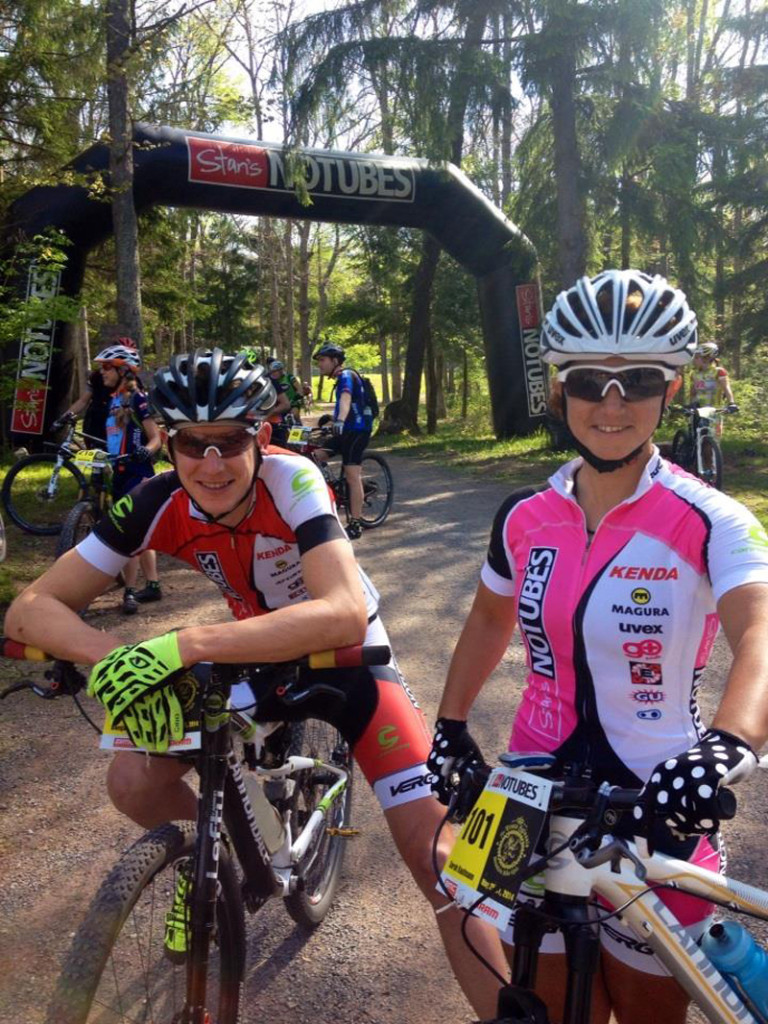 Teammate Ben Sonntag and Sarah before Stage 2, photo credit: Chris