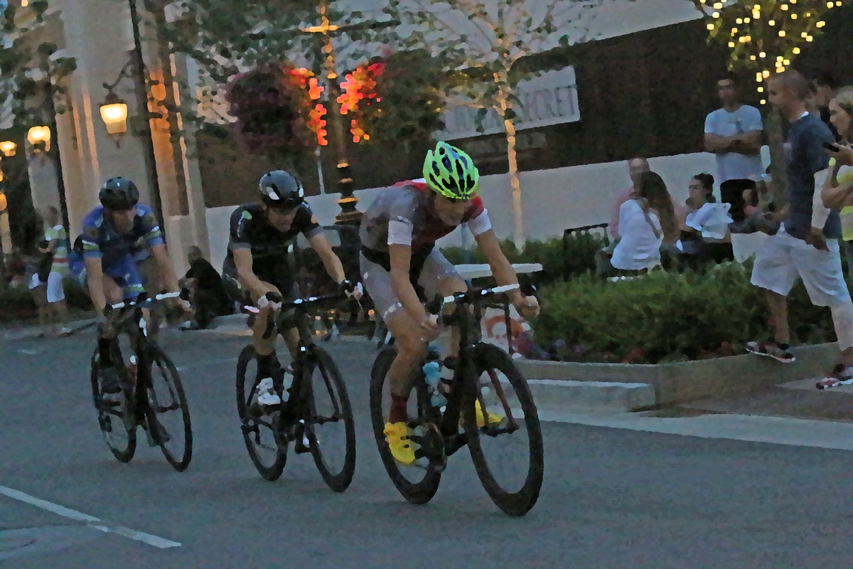 Cortlan Brown, Cameron Hoffman, and Alister Ratcliff in the Station Park Criterium. Photo by Dave Iltis