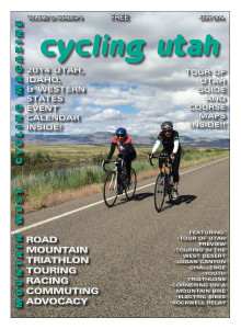 Cycling Utah's July 2014 Cover Photo: Two riders on the beautiful roads of the Bear Lake National Wildlife Refuge during the Tour de Cure on June 14, 2014. Photo by Dave Iltis