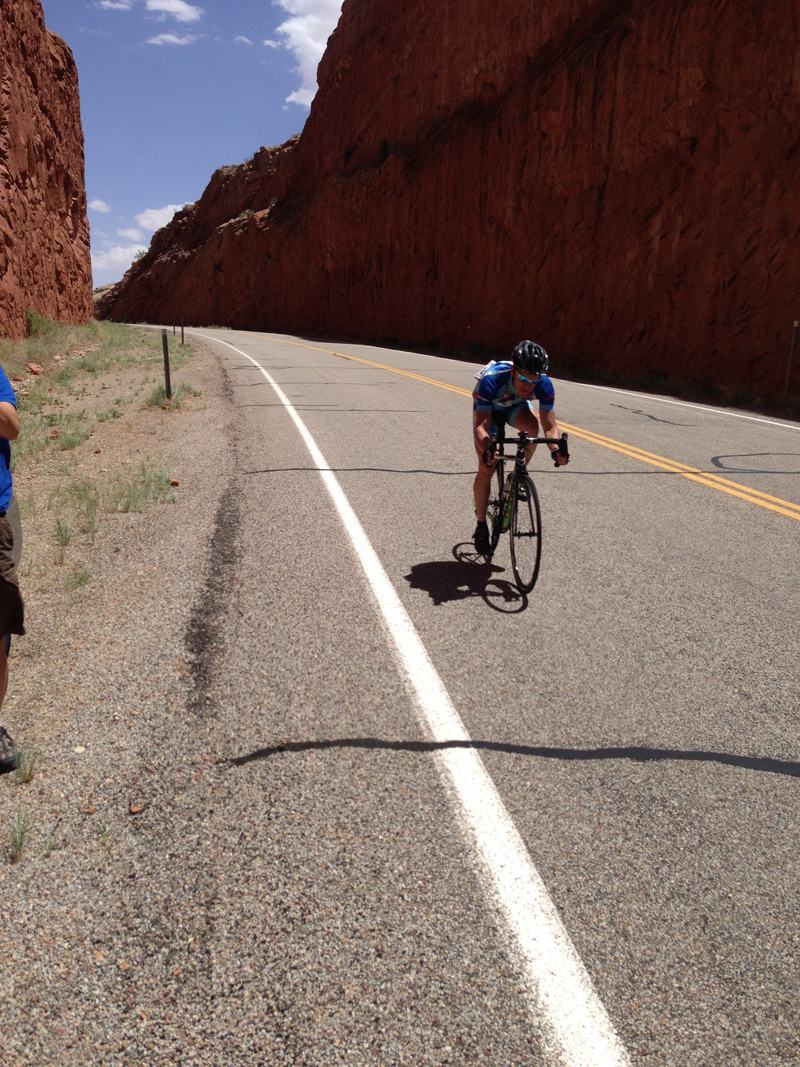 Cameron Hoffman of Pedal Palatinose out front with Ty Hopkins of 4Life/