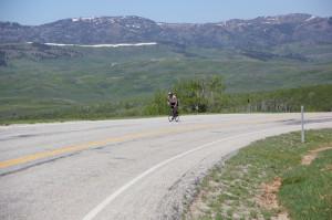 Jon Bingham on SR-39 near the summit of Monte Cristo. This climb will