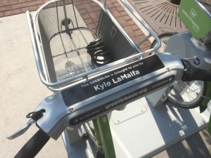 Individuals can sponsor a Greenbike. This one is sponsored by City Council person Kyle LaMalfa. Photo by Dave