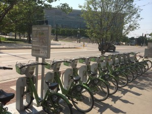 The expanded Greenbike station by the Union Pacific Depot on 400 W and  S. Temple. Photo by Dave Iltis.