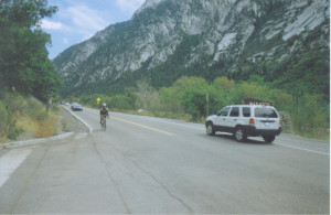 A rider nears the mouth of Little Cottonwood Canyon, after an exhilarating