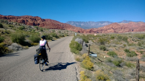 Kathleen Berglund on her first bicycle tour heading into Red Cliffs Recreation Area. Photo: Lukas Brinkerhoff.