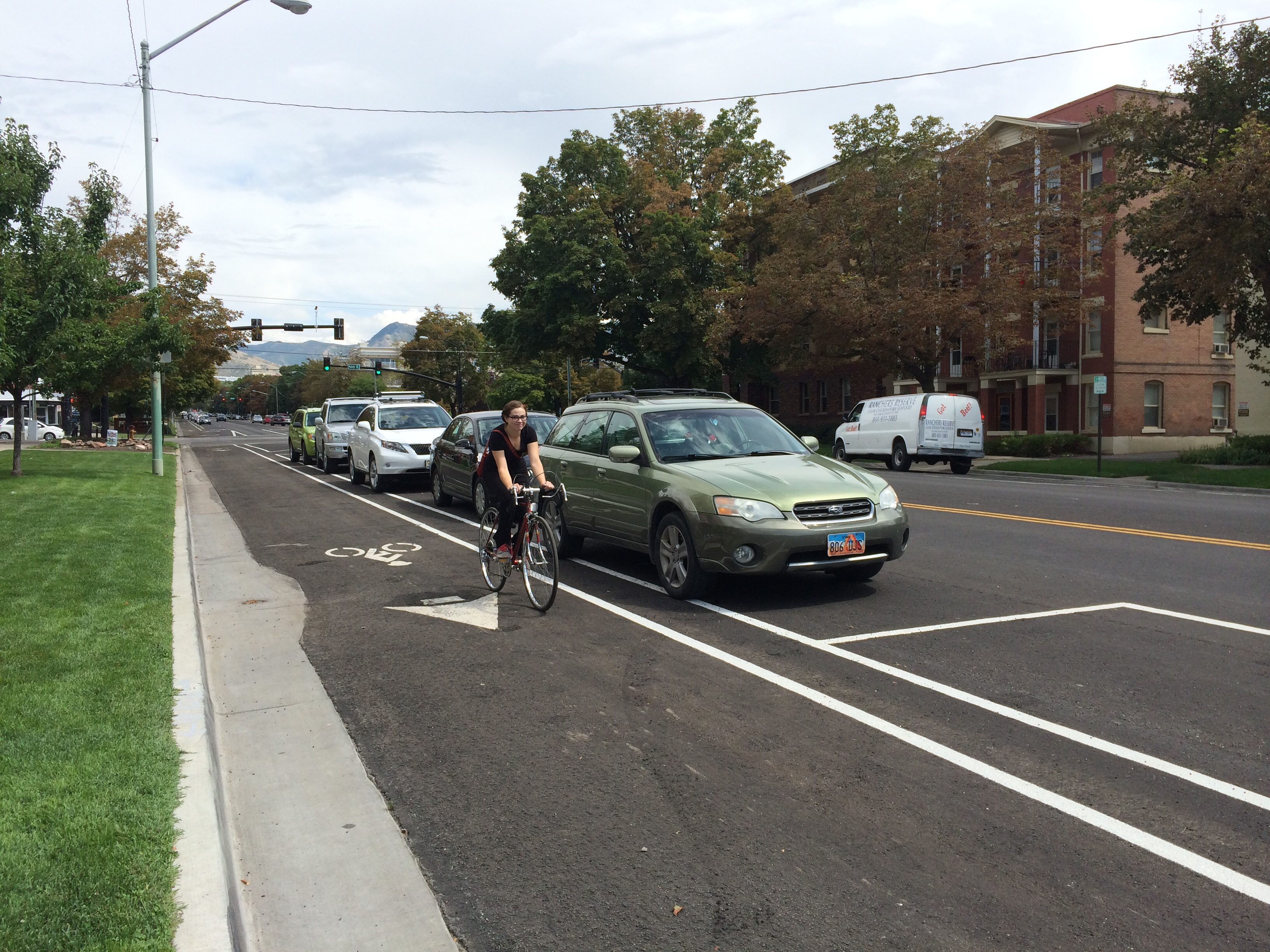 Salt Lake City's 300 S. bikeway separates bikes from cars. Photo by Dave Iltis