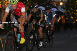 Race Winner Cortlan Brown leads Cameron Hoffman and Alister Ratcliff in the 2014 Station Park Criterium. Photo by Dave Iltis