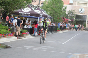 Cameron Williams winning the B flite in the 2014 Station Park Criterium. Photo by Dave Iltis
