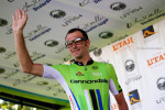 Ivan Basso (Cannondale) one of the three Grand Tour winners at this year's Tour of Utah waves to the crowd. Photo by Cottonsoxphotography.com