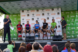 Cadel Evans (BMC), Chris Horner (Lampre-Merida), Tom Danielson (Garmin-Sharp), Jens Voigt (Trek Factory) and Ivan Basso (Cannondale) talks to Connor O'leary (who has raced for the Tour of Utah on the Bontrager-Livestrong team & is the winner of the Amazing Race) and Dave Towle. Photo by Cottonsoxphotography.com