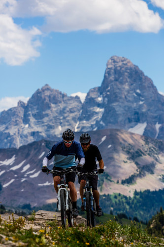 Troy Olsen and Dana Ramos riding the Grand Traverse Trail during the