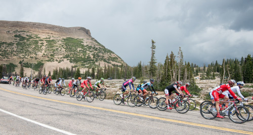 The peloton chases the break down Bald Mountain Pass in stage 5 of the 2014 Tour of Utah. Photo by Dave Richards, daverphoto.com