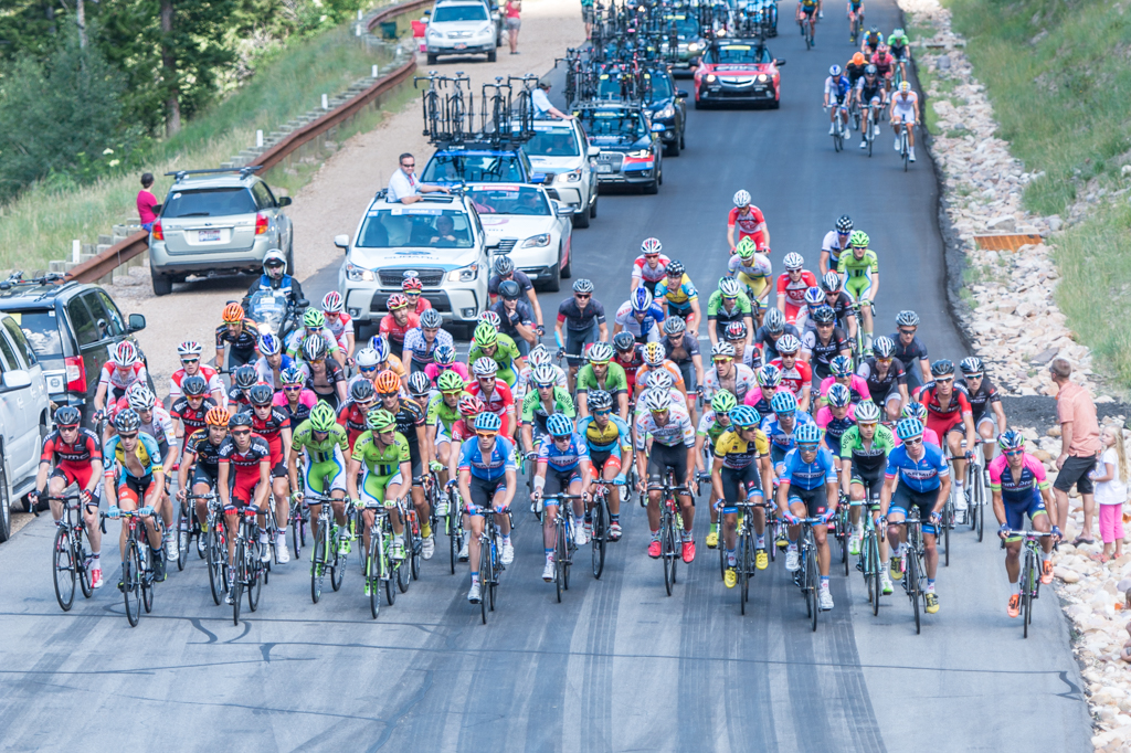 The breakaway is shown here on the Wolf Creek Pass Climb and featured Park City local Tanner Putt (center, Bissell). They were caught near the base of the Empire Pass climb. Photo by Dave Richards, daverphoto.com