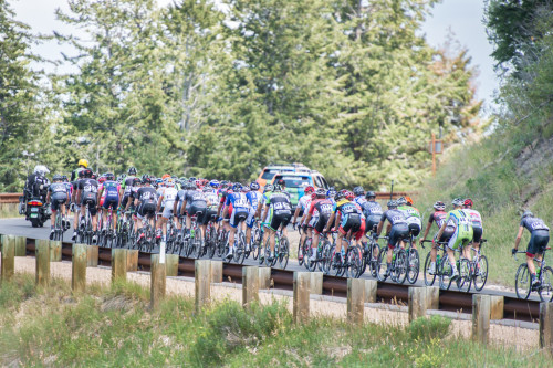 Another view of the peloton on the Wolf Creek Pass climb. Photo by Dave Richards, daverphoto.com