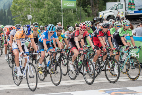 The remainder of the peloton crosses the finish line at Snowbird in stage 6 of the 2014 Tour of Utah. Photo by Dave Richards, daverphoto.com