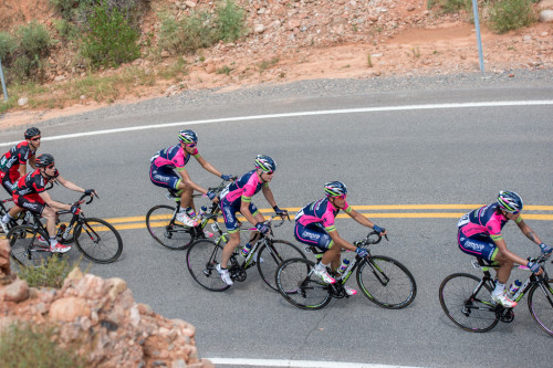 Chris Horner & his Lampre team climbing Big Mountain in stage 6 of the 2014 Tour of Utah. Photo by Dave Richards, daverphoto.com