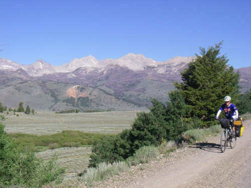 Noodling along the nice gravel road of Copper Basin at the foot of the Pioneer Mountains.