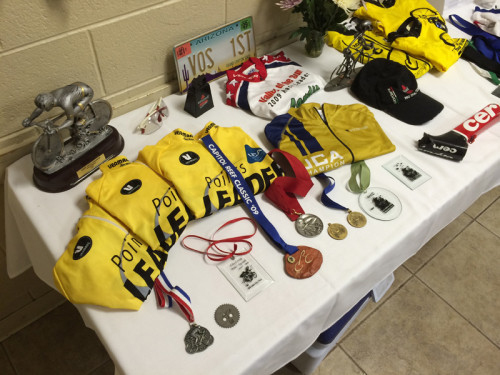 A portion of the awards and jerseys that Chase earned during his