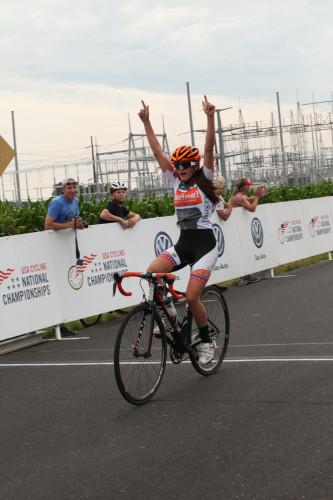 Katie Clouse shown winning the 13-14 Women's Road Race. Photo: USA Cycling/Karl Hendrikse