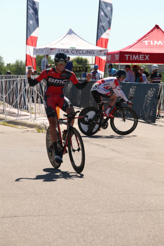 TJ Eisenhart celebrates his win in the U-23 Time Trial National Championship race. Photo: USA Cycling/Karl Hendrikse