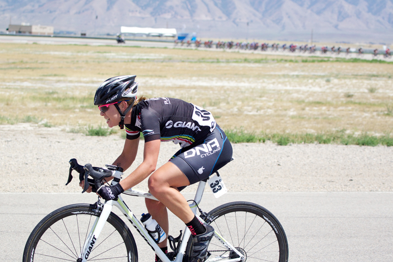 Mercury Wheels sponsored rider Breanne Nalder off the front in the Tour of Utah