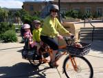 Heather Khader commutes with her kids on a Yuba elMundo cargo bike. Photo: Karim Khader.
