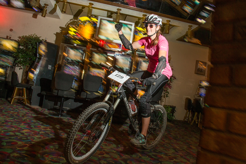 Jerrica Deiber, pedaling through the Jail House Casino in Ely, Nevada, at