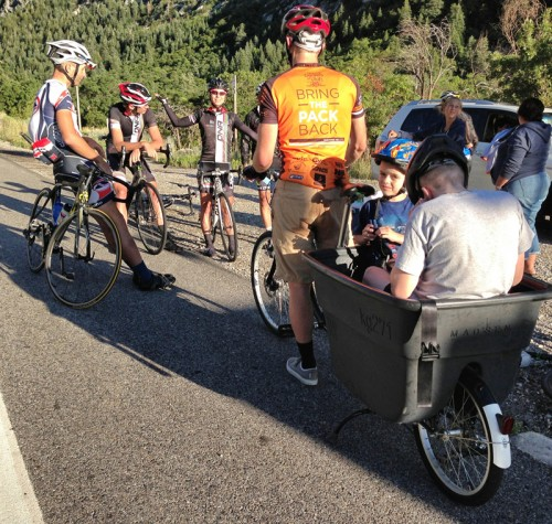 Regrouping on lap 6 of Little Cottonwood Canyon during the Matt 'Bronco'