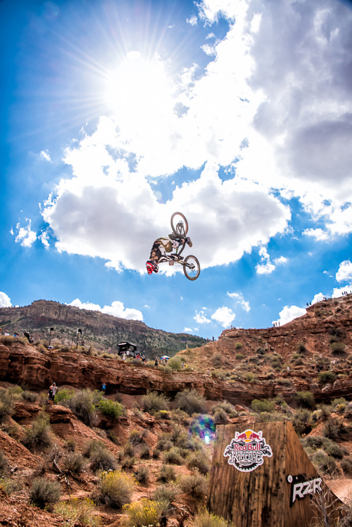 Chris Van Dine front flip at the 2014 Red Bull Rampage. Photos by Rob Norbutt.