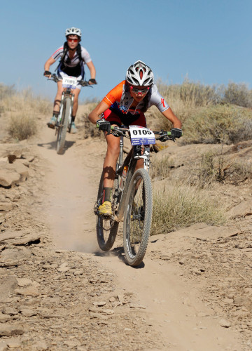 Park City High School Varsity student Sienna Leger Redel races at the Utah High School Mountain Biking State Championships, October 25, 2014 in St. George, Utah. Photo by Steve C. Wilson. See more event photos at wilsonphotography.com