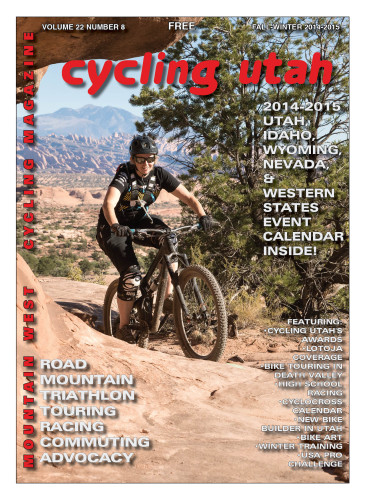Cover Photo: Chantal Felten, visiting from Whistler, BC, shown here pedaling up Great Escape, part of the new Magnificent 7 (a.k.a. Mag 7) trail system in Moab.  Photo by John Shafer,  photo-john.net