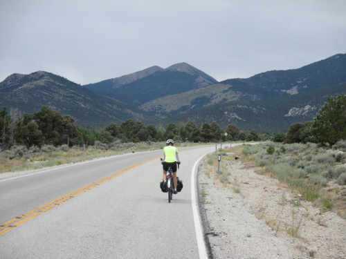 An ultra-cyclist, having crossed the entire state of Nevada, culminates the ride by climbing Wheeler Peak! Photo by Wayne Cottrell.