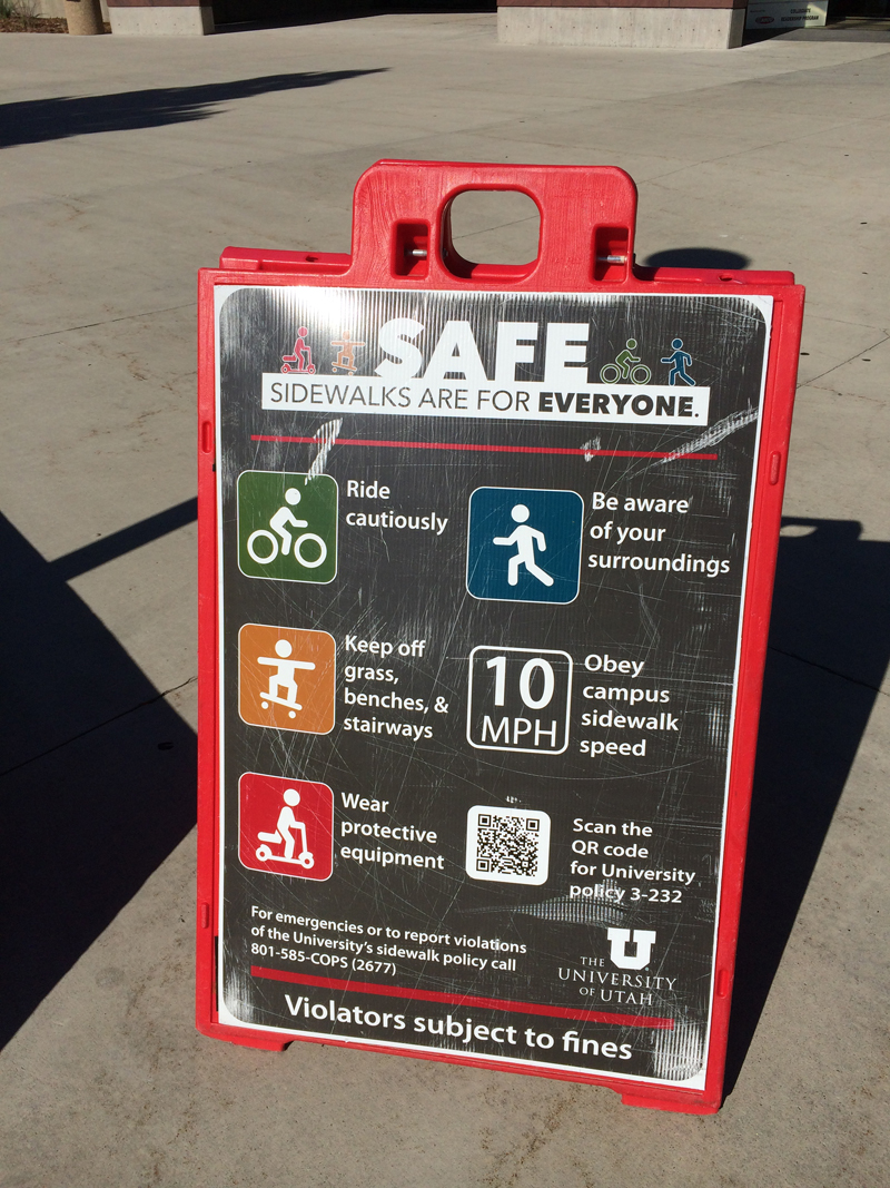 The University of Utah implemented a sidewalks are for everyone program for sharing campus pathways. Photo by Dave Iltis